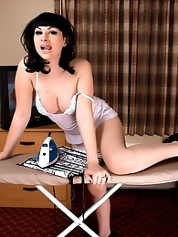 Whore maid Bailey Jay stripping while ironing