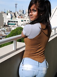 Busty Agostina exposing her hot ass and tits
