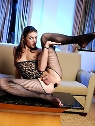 Stunning tgirl Kimberly Kills posing in hot fishnet stockings