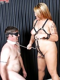 Mistress Delilah likes to torment and dominate Jake, forcing him to fulfil her every whim - swallowing her cock and bending over for a good hard fuck!